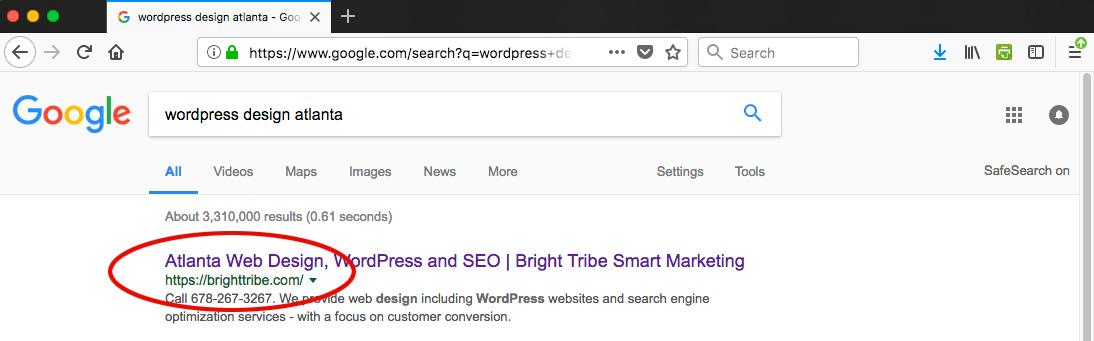 Atlanta WordPress Design Search Results